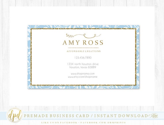 Custom Premade Blank DIY Single Sided Business Card   Business Template   Business Branding   Business Graphics   INSTANT DOWNLOAD-BR359