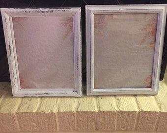 """Pair of Shabby Chic Upcycled Frames with Glass and Backing 8"""" by 10"""" Photo Wedding Decor Shabby Chic Cottage Decor French Country Frames"""