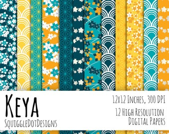 Japanese Style Digital Printable Background Paper for Web Design, Crafts, and Scrapbooking Set of 12 - Keya - in Blues, Silver, and Yellows