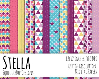 Geometric Digital Printable Paper for Cards, Crafts, Art and Scrapbooking Set of 10 - Stella - Instant Download