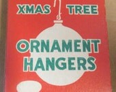 Vintage Christmas Ornament Hangers Box Brite Star XMas Tree Cardboard Box Red & Green with Hangers