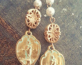 Bohemian Gypsy Religious Medal Holy Mary Spirituality Jewelry Dangle Earrings Upcycled Recycled
