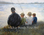 Father and Three Sons Fishing Art Print, three boys fishing, three kids fishing, grandpa, dad gray hair, lake, father gift, Vickie Wade Art