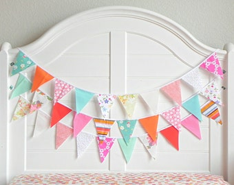 Fabric Bunting Banner, Colorful Garland, Fruit Birthday, Rainbow Bunting, Summer Garland, Fabric Garland, Vintage Circus, Coral and Mint