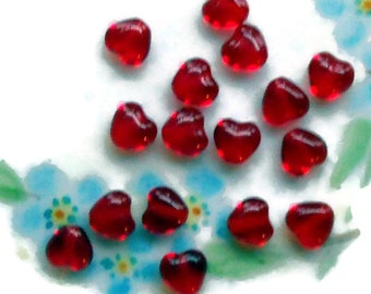 Vintage Heart beads Ruby Red Hearts Glass Czech Glass Valentines Tiny 6mm. #35D