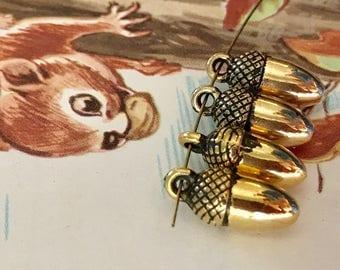 Vintage Acorn Bead Drops,Acorn Dangles,Acorn Drops,Acorn Beads,Acrylic acorns,Vintage findings,acorns, #1563A