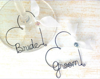 Personalized Engagement Gift,  Bride and Groom Gift, Personalized Wedding Favors,  Personalized Wine Glass Charms