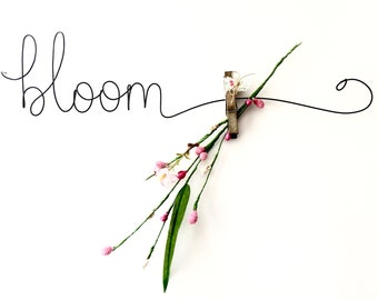 Bloom Wire Word Wall Art Sign, Unique Wall Decor, Handmade Gallery Wall art, Airfern holder, Unique Flower vase display