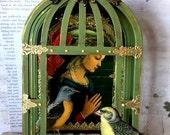 Mixed Media Art Assemblage 3-D BIRD Cage SHRINE, She Hath Wings, Flight, OOAK