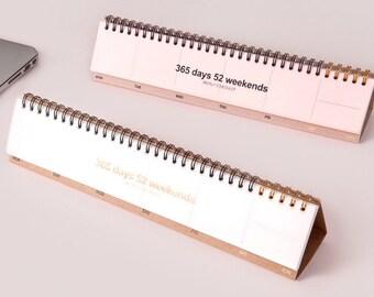 desk weekly calendar -in 2 colors (pale pink or kraft)