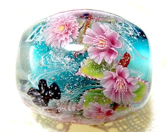 Weeping Cherry Blossom of Double & Single with Butterfly Satake Glass Lampwork Round Flower Bead sra