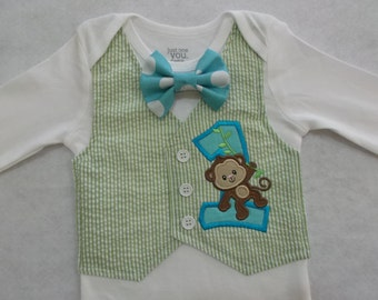 Monkey tuxedo bodysuit, birthday party, baby bodysuit, monkey birthday, baby jungle party, zoo party,bow tie tuxedo,boys cake smash bodysuit