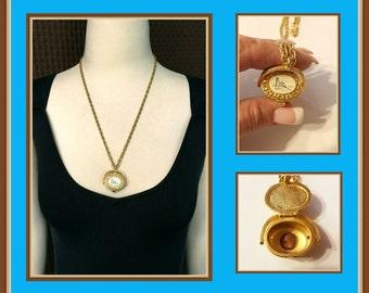Vintage Gold Tone Basket Necklace, Mini Penny, Swing Handle, Coastal Light House, Light Keepers House, Faux Scrimshaw, Locket, 1980's