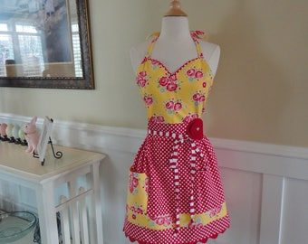 Red Rose in Summer Yellow & Red Dot ~ READY TO SHIP -  Alivia Style  -  Women's Apron ~ 4RetroAprons