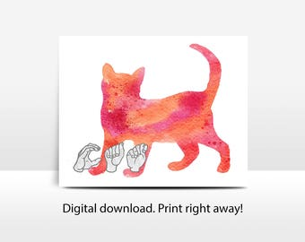 ASL Watercolor Cat: printable, nursery art, Deaf culture, sign language, jpg, pdf, png