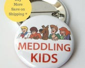 Scooby Doo, scooby doo party, Meddling Kids, patch,  Pin back Button Badge, pins for backpacks, Pinback gift, Button OR Magnet - 1.5″ (38mm)