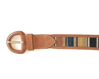 Vintage 80s Belt / Leather and Kilim Belt / size 30 / Earthy Tones