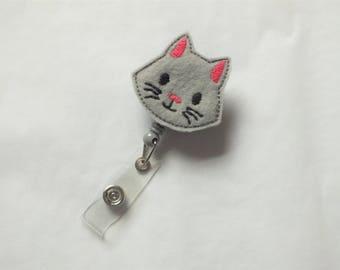 ID Badge Holder Retractable in Light Gray Cat Felt, Fashionable Badge Reel, Ready to Ship, Nurse Badge Reel, Teacher Gift, Badge Accessory