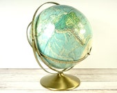 Vintage 1960s World Globe | Rand McNally Raised Relief Map | Desk Globe Office Decor