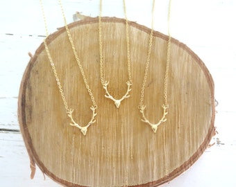 Deer Antler Necklace in Matte Gold/Deer Necklace /Antler Necklace /Boho Necklace /Deer Antler Pendant / Deer Antler Jewelry / Gift for Her