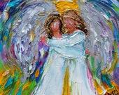 Angel Friends painting original oil 6x6 palette knife impressionism on canvas fine art by Karen Tarlton
