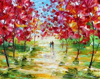 Colorful Romance landscape painting original oil on canvas palette knife 12x16 impressionism fine art by Karen Tarlton