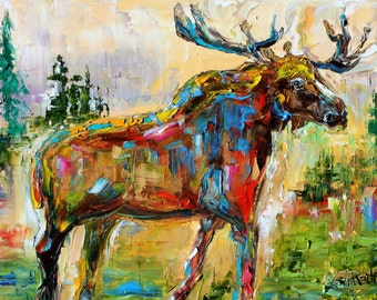 Moose abstract painting original oil on canvas palette knife 12x16 impressionism fine art by Karen Tarlton