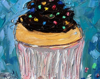 Cupcake painting original oil 6x6 palette knife impressionism on canvas fine art by Karen Tarlton