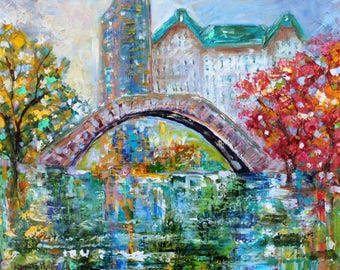 New York Central Park Spring painting in oil landscape palette knife impressionism on canvas 16x20 fine art by Karen Tarlton