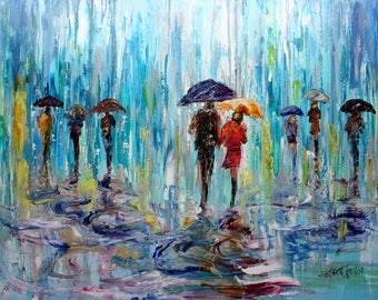 City Rain painting oil paint and palette knife texture impressionism on canvas fine art by Karen Tarlton