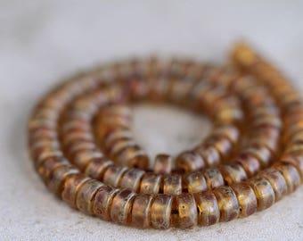 Matte Classic Picasso Wheel Beads, 3x6mm wheel beads, Czech glass beads, Picasso Donut beads, (100pcs) NEW