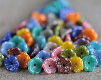Lustred Bell Flower Beads Mix, Czech Glass Beads, Baby Bell Flower Beads, Glass Flower Beads, 5x8mm (110pcs) NEW
