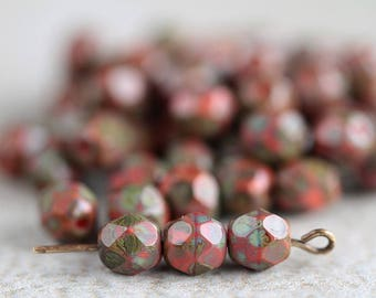6mm Red Picasso Czech glass beads, 6mm round glass beads, fire polished beads, faceted glass beads (50pcs) NEW