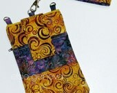 Gold and Purple Swirls and Leaves Batik Phone Case Satchel Wristlet Back Zipper Pocket iPhone 4 5 6 Plus Note