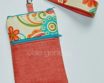Orange & Aqua Phone Case with Wristlet  Zipper Top Closure iPhone 4 5 6 Plus Note Large Linen Green Floral Paisley