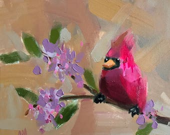 Cardinal no. 226 Original Bird Oil Painting by Angela Moulton 12 x 12 inch on Canvas pre-order