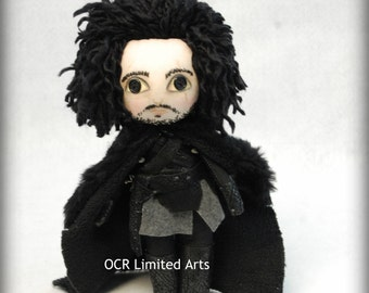 JOHN SNOW Doll Inspired  by Game of thrones cute OOAK Handmade Art doll cloth doll collectible Gothic doll decor gift rag doll