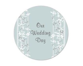 """Elegance of Romance  2"""" round stickers -- 20 stickers - FREE PERSONALIZATION - stickers, baby shower favor  (ST50111)"""