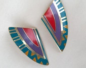 Vintage Enamel Laurel Burch Clip Earrings Shizumi