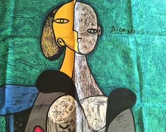 Large Silk Picasso Scarf Vintage Abstract Silk Scarf