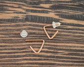 After Christmas Sale Mini Triangle Hoop Earring - 14k Rose Gold Fill,  Post Style