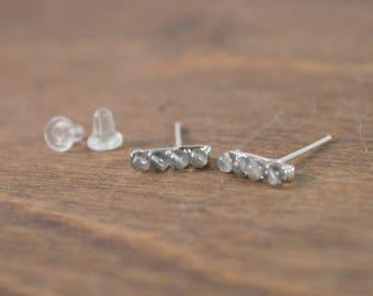 Labradorite Bar Stud Earrings 925 Sterling Silver