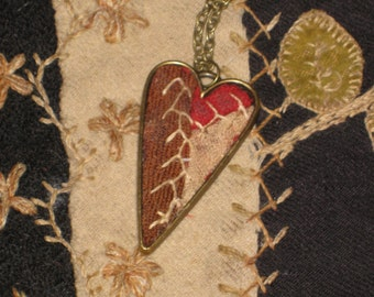 Repurposed Quilt Jewelry Heart Necklace Feather Stitched Old Quilt Necklace With Gift Box