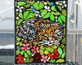 Mosaic Cat -  Stained Glass SunCatcher or wall Decoration