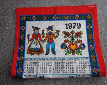 Vintage 1979 Calendar Tea Towel, Dutch Graphics
