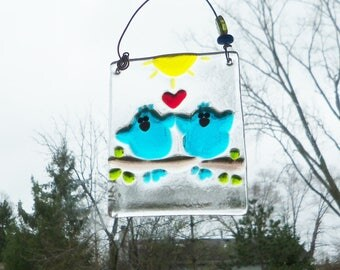 Love Birds // BLue Birds of Happiness // Fused GLass Birds // Suncatcher // Ornament // Sun Catcher // Wedding // Cheerful // Anniversary