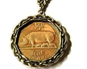 Irish Pig Coin Necklace Celtic Knot Necklace  by  Blue Bayer Design NYC