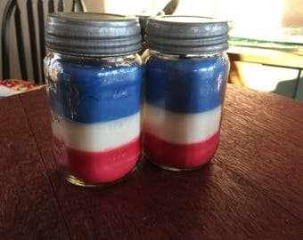 Fourth of July Scented, Layered Soy Blend Candles, Blueberry, Vanilla, Hot Apple Pie, DOMESTIC SHIPPING INCLUDED.