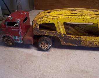 Vintage Structo Truck and Trailer, Car Transport Semi, Collectible Toys, Collectible Trucks, Tin Trucks
