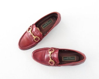 SALE Vintage Loafers * Harness Loafers * Wine Leather Shoes * size 6 /
